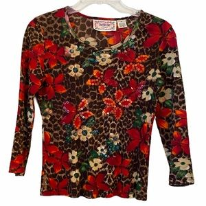 Tropical Floral & Leopard Ribbed Top w/ Sequins